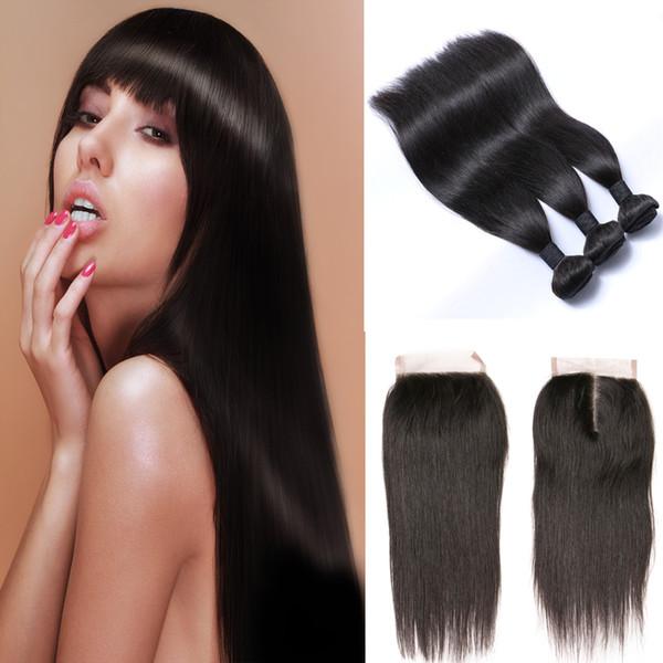 brazilian straight hair 3 bundles 6a grade human hair bundles with closure fabc unprocessed virgin brazilian hair extensions free shipping