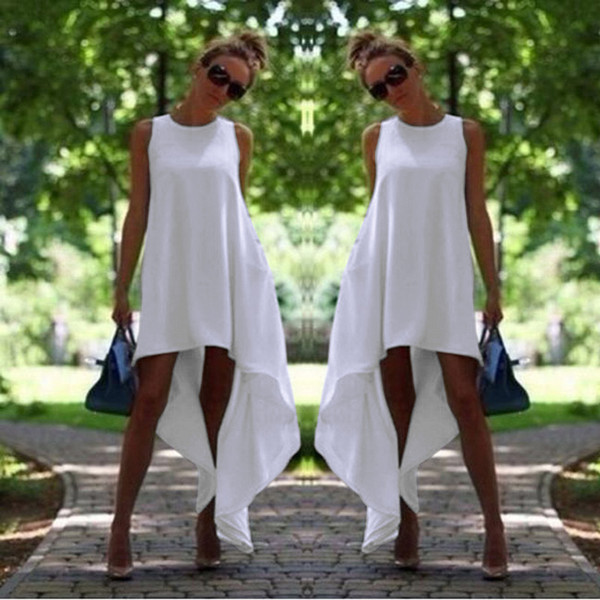 Women Summer Bohemian Dress White Irregular Beach-to-Bar Loose Dresses Loose Flare Tunic Female Sleeveless Beachwear Boho Gowns Tunics