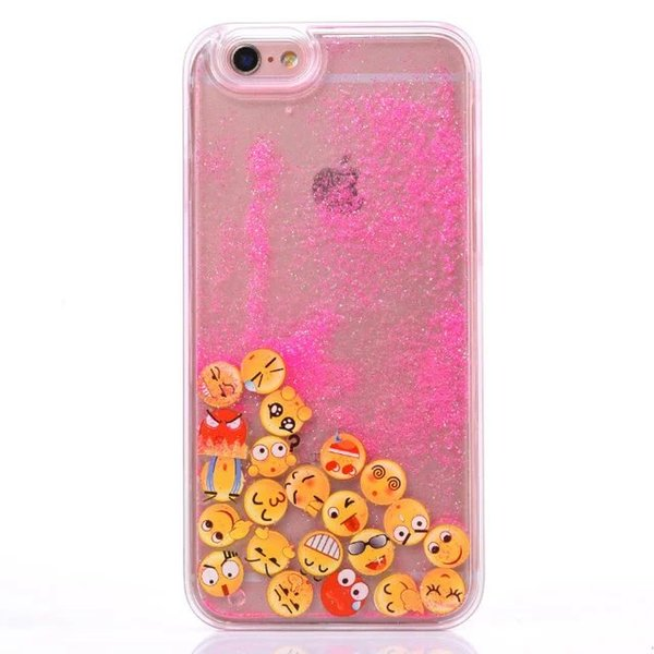 Luminous Quicksand Liquid Smile Emotion Star Hard TPU Case For Iphone 8 7 7Plus I7 6 6S Plus Glow In Dark Glitter Dynamic Magical Skin Cover