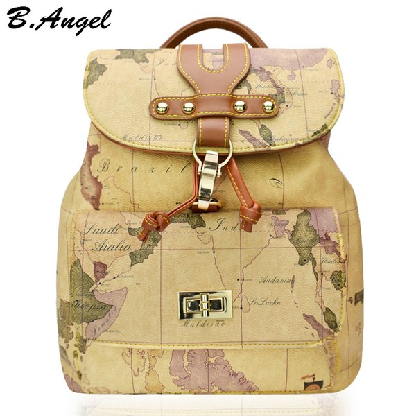 High quality women and men world map backpack fashion backpack women high quality women and men world map backpack fashion backpack women retro leather backpack brand design publicscrutiny Images