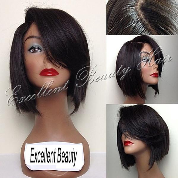 Brazilian Short Human Hair Full Lace Bob Wigs Lace Front Wig Bob Style Wigs Side Bangs Baby Hair 150 Density For Black Women