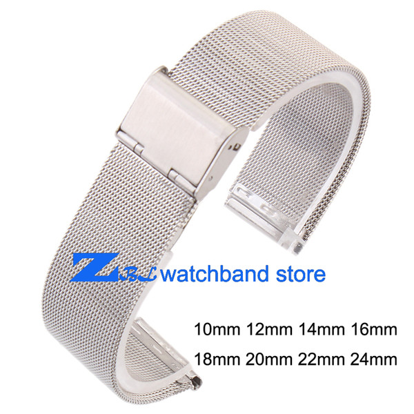 Wholesale-ultra-thin Stainless steel Watchband Mesh strap silver bracelet 10mm 12mm 14mm 16mm 18mm 20mm 22mm 24mm Bracelets Watch band