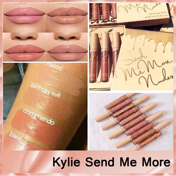 Kylie Jenner Send Me More Nude 4pcs Set Nude Liquid Lipstick 4 Color Matte and Velvet Lipgloss By Kylie Cosmetics free shipping 660147