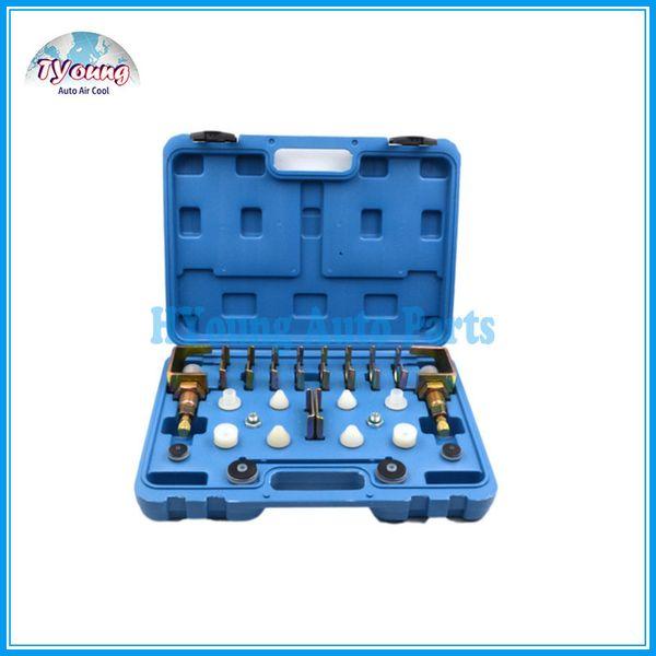 top popular Universal vehicle AC Conditioner Repair tool box , A C Leak Testing Detector Tool   Flush Fitting Adapter Kit 2021