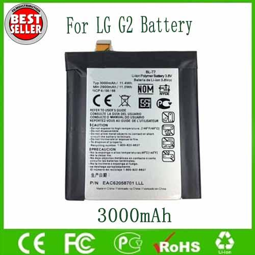 best selling Original OEM BL-T7 BLT7 Battery For LG G2 D800 D801 D802 LS980 VS980 3000mAh Free Shipping Wholesale