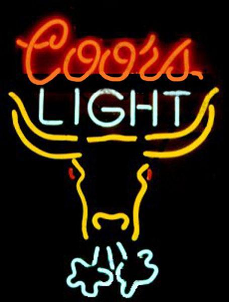 "Coors Light Breathing Bull Neon Sign Custom Handmade Real Glass Tube Store Beer Bar KTV Club Pub Advertising Display Neon Signs 15""x19"""