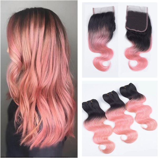 2019 Brazilian Human Virgin Hair Two Tone 1b Rose Red Hair Bundles With Lace Closure Ombre Pink Hair With Closure 4 4 Lace Top Closure From