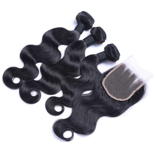 Malaysian Hair 3 Bundles With Three Part Lace Closure 340G/Lot Malaysian Body Wave Hair Weaves With 4X4 Top Closure