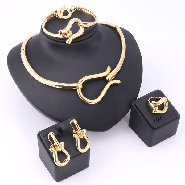 Elegante africano novo charme moda banhado a ouro colar de prata brincos anel pulseira conjuntos de jóias de noiva para as mulheres festa de casamento