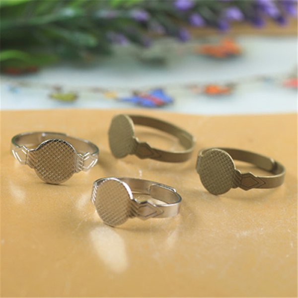 BOYUTE 20Pcs 10mm Cabochon Base Ring Setting Antique Bronze Plated Adjustable Ring Base Jewelry Findings & Components