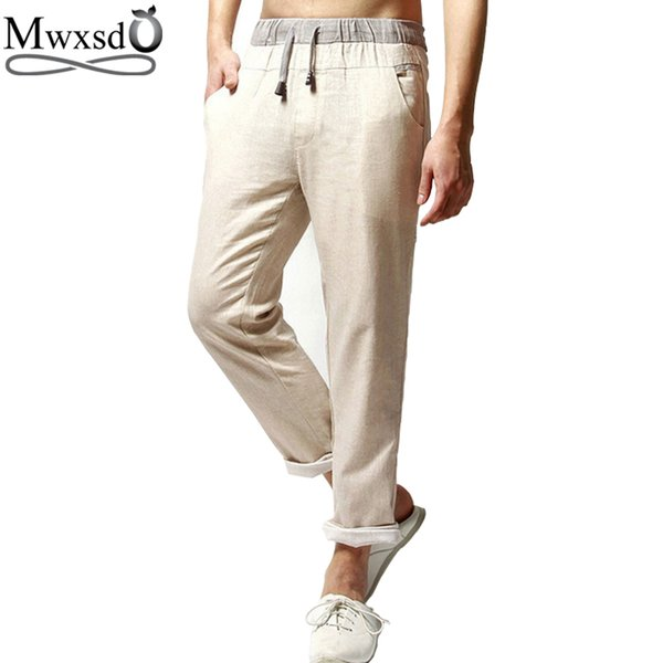 Wholesale-high quality 2016 brand men Casual linen pants men straight trouser pants for male
