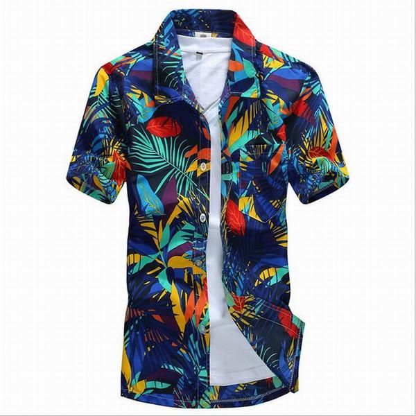 Atacado-2016 Havaí Estilo Homens camisas florais praia de areia verão Camise manga curta Fit homens camisas camisa de impressão Plus Size 4XL D5158
