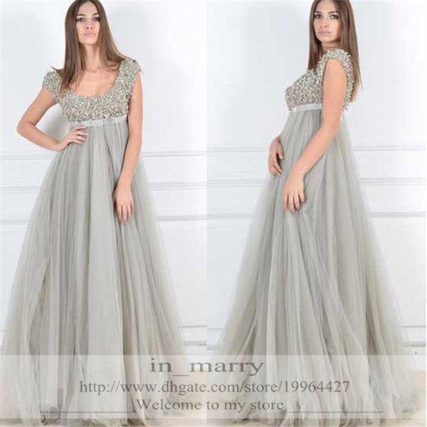 Sliver Grey Sequined Maternity Evening Dresses 2016 A Line Scoop Cap ...
