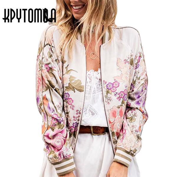 Atacado-Boho Vintage Floral Impresso Bomber Jacket Mulheres Casaco 2017 Nova Moda Outono Manga Comprida Casual Casacos Outerwear Chaqueta Mujer