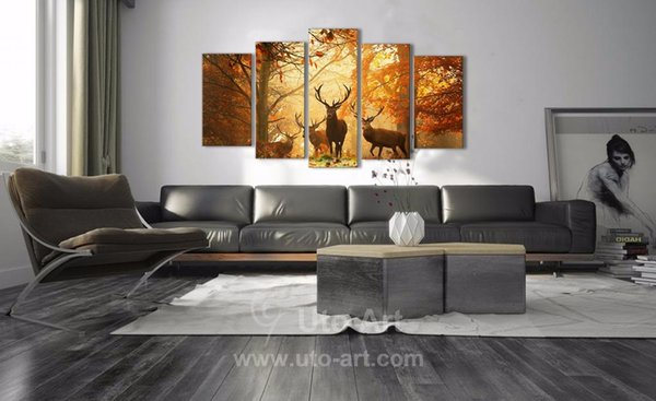 Modern Digital Picture Print on Canvas Animal Deer Wall Frame Panels the Photo as 5 Parts Wall Art Images for Home Wall