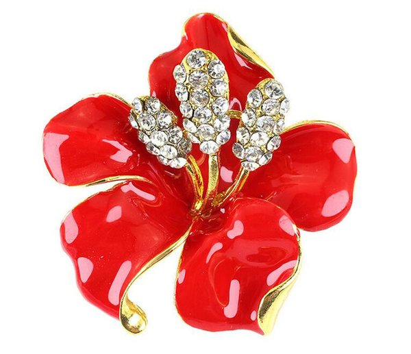 10pcs 6 Colors Clear Crystal Poppy Flower Brooches Pins Large Size Brooches Bouquet Wedding Brooches 2016 October style
