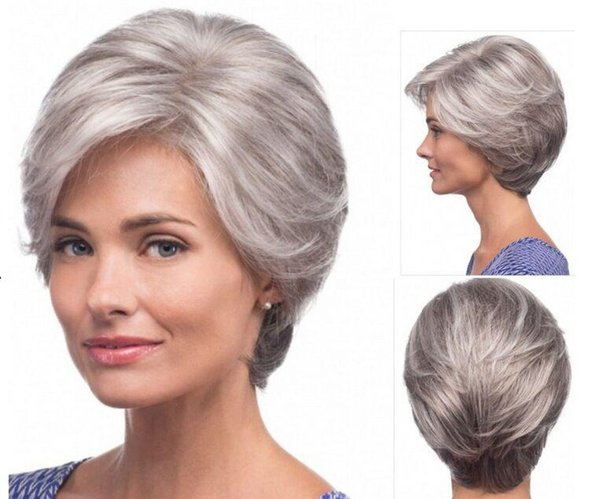 Xiu Zhi Mei Straight silver Grey short Wig side bangs fashion Heat Resistant synthetic gray hairstyles hair wigs for old Women Elderly Lady