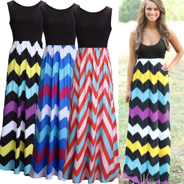 Free Shipping Bohemian Dress Color Wave Stripe Dress Stripe Sleeveless Maxi Dresses Sexy Elegant Long Dress