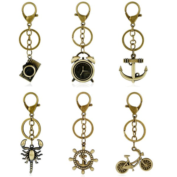 Retro Alloy Keychain Keyring - Bicycle Rudder Camera Alarm Clock Key Chains Ring - Punk Car Keys Holders Women Bag Pendant Jewelry
