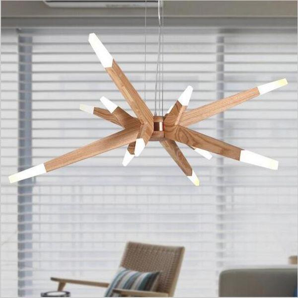 modern minimalist Solid wood led pendant light chandeliers Solid Wood Art Pendant Lamp Living Room Restaurant Clothing Store Light fixture