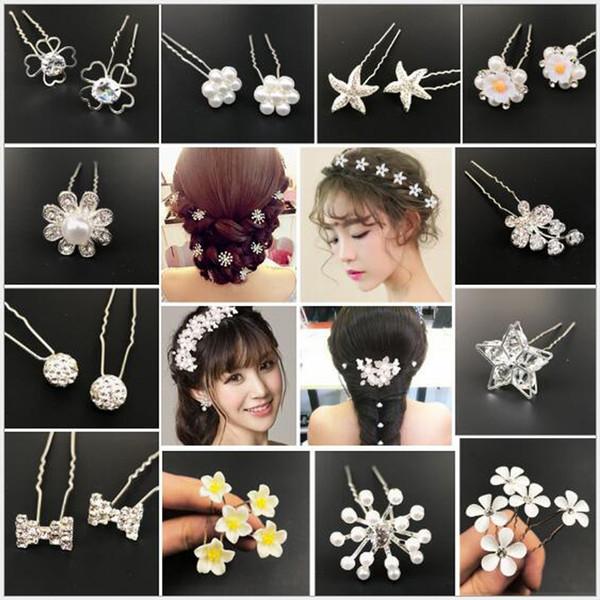 Forcella di cristallo nuziale imitazione perla intarsio bastoncini per capelli moda tornante per le donne di tipo u forcine per capelli da sposa gioielli 80 pz / lotto