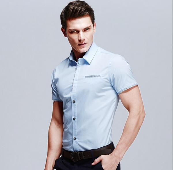2016 neue Sommermode Casual Männer Hemd Kurzarm Gefälschte Tasche Slim Fit Shirt Männer Baumwolle Herren Kleid Shirts Männer Kleidung 5XL