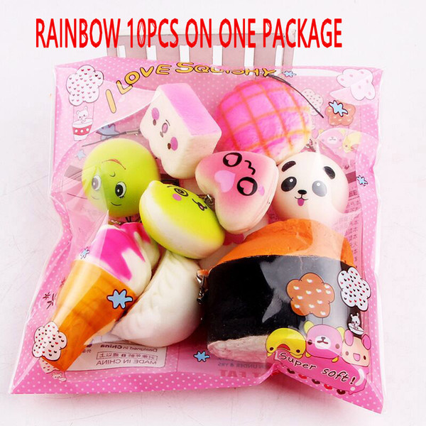 top popular 10pcs lot Slow Rising Squishy miniature food squishies weetmeats ice cream cake bread Strawberry Bread Charm Phone Straps Soft Fruit Toys 50 2020