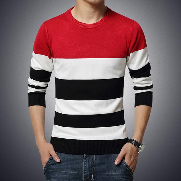 Pullover männlich die neuen Männer pflegen die Moral runder Kragen Streifenfarbe Freizeit Herrenbekleidung Pullover großen Yards