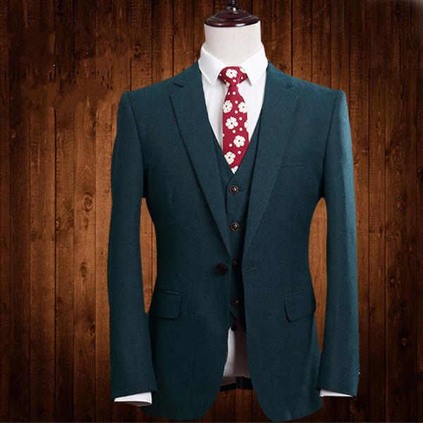 2018 Paisley tuxedos Wool Herringbone wedding suits for men British style custom made Mens suit slim fit Blazer(Suit+Pant)