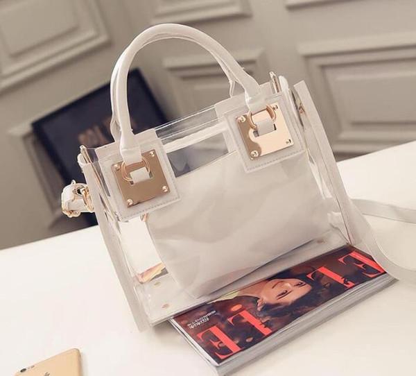 1 adet Yeni Bayan çanta Temizle Tasarımcı Çanta Sıcak Tote PU Deri Omuz Kompozit çanta 5 Renkler