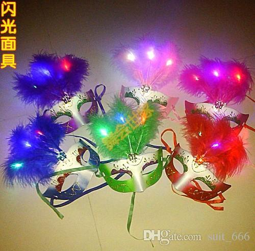 new year chirstmas gift flashing lovely Special hot masquerade mask LED light Colorful eye-catching Christmas mask female mask feather masks