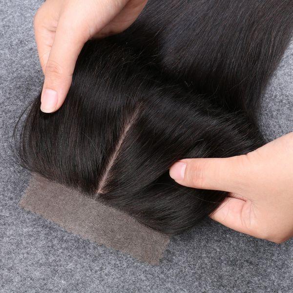 """Slove 8A Cheap Silk Base Closure Straight India Virgin Hair 4""""x4"""" Silk Closures Free Middle 3 Part Silk Base Closure Bleach Knots"""