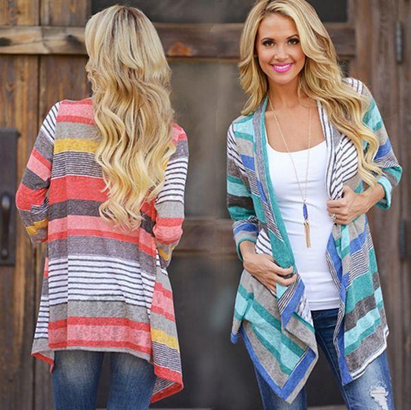 Cardigans a rayas Outwear Chaqueta de punto de las mujeres Abrigo de la vendimia Tops irregulares Suéter flojo Blusa casual Jersey Thicken Jumper de calidad superior