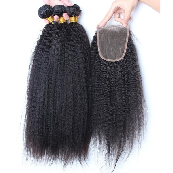 8A mongolisches Jungfrau-Haar verworrenes gerade Spitzenoberteil-Schließung mit 3 Bund-Grob-italienischem Yaki-Haar 4 Stücke / Los 100% Menschenhaar spinnt