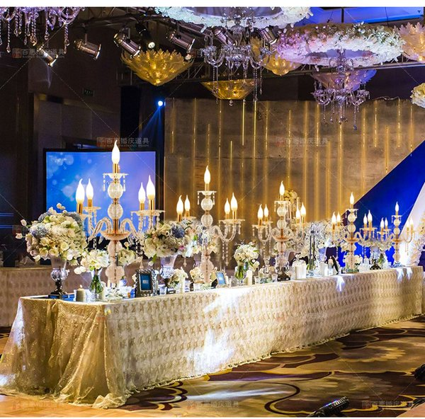 55CM to 150cm Tall Upscal Table Centerpiece Acrylic Crystal Wedding Candelabras Candle Holder Wedding Aisle Road Leads Props