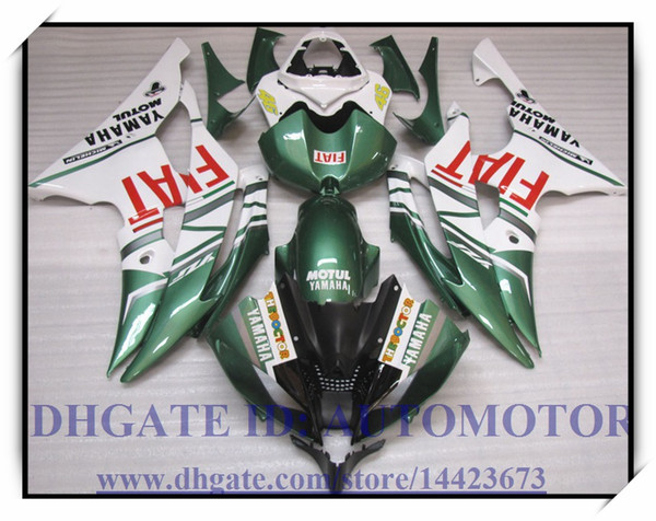 Injection molding brand new fairing kit 100% fit for YAMAHA YZF R6 08 09 YZF R6 2008 2009 YZFR6 YZF600 2008 2009 #TD772 WHITE GREEN
