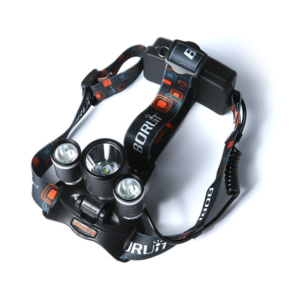 Boruit 6000LM 3x CREE XM-L T6+2R5 LED Headlight Headlamp Head Headlamps Headlight Headlamp Head Lamp Light Torch USB Lamp Charge