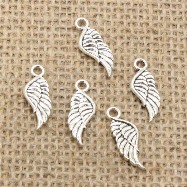 Wholesale 130pcs Charms Tibetan Silver Plated angel wings 21*8mm Pendant for Jewelry DIY Hand Made Fitting