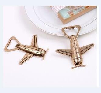 free shipping Novelty Plane Bottle Opener Gold Wedding Favors and gifts Wedding supplies Party Guests gift box Presents