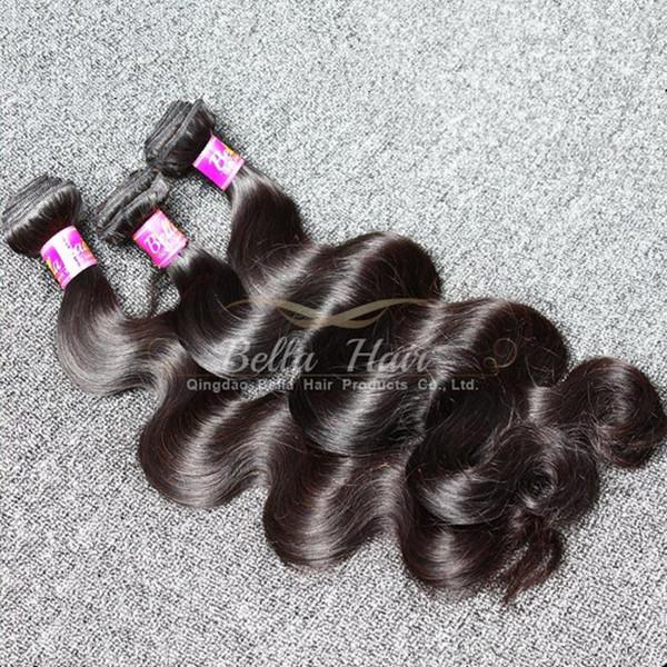 Mélange de trame double longueur de malaxage malaisien 10-24 pouces 4pcs / lot pleine longueur de couleur naturelle 9A extensions de cheveux