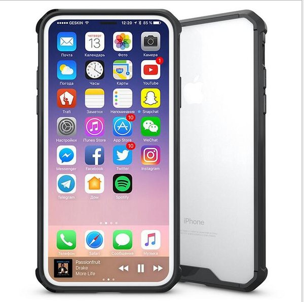 New arrive Hybrid TPU Bumper Frame Air Cushion Protective Case Clear Crystal Back Cover Shockproof For Samsung Note 8 iphone X 8 7 plus