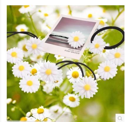 Fashion beautiful Style Hair bands daisy flowers trip hair rope Hair tie hair clip hair accessory