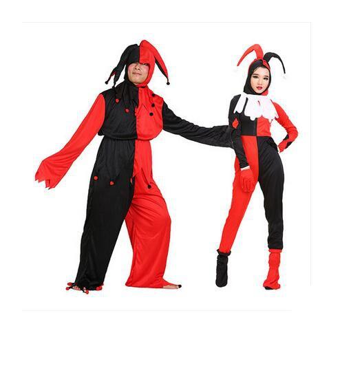 halloween adult men women black red check clown costume clown clothes trouses gloves shoes hat