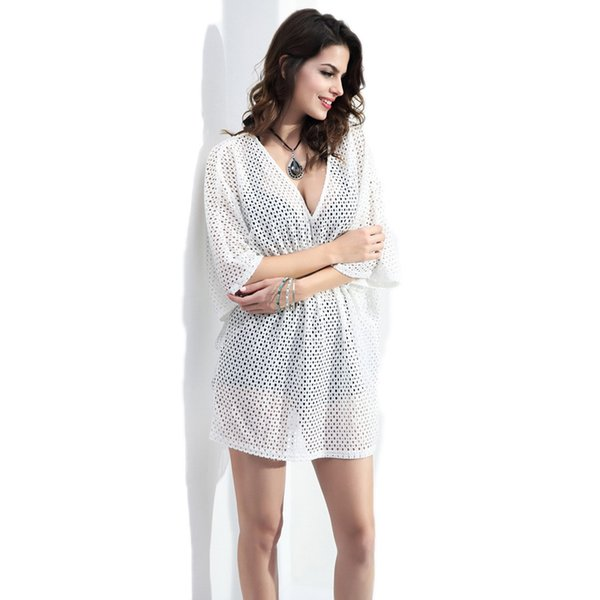 Erupean Style Sexy Women Lace Crochet Hollow Summer blouse tunic Out Bikini Swimwear Cover Up Plus Size Beach Dress Bathing Suit