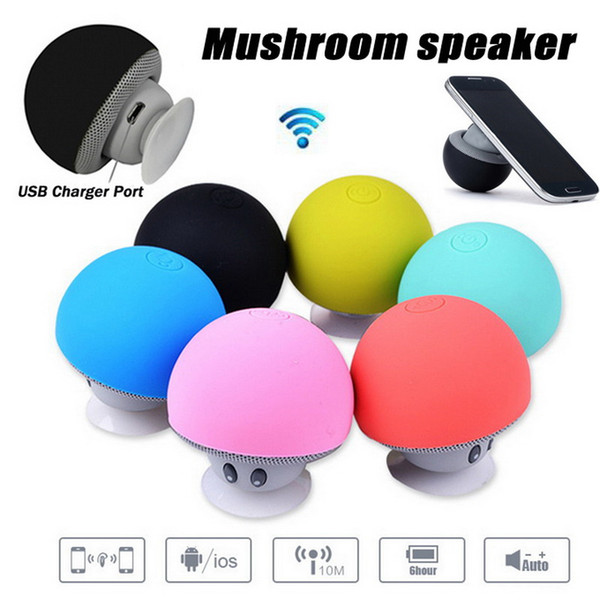 Pilz Mini Wireless Bluetooth Lautsprecher Hände frei Sucker Cup Audio Receiver Musik Stereo Subwoofer USB für Android IOS PC 1072