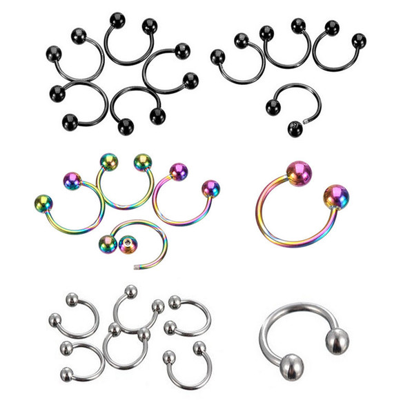 Nose Ring 100pcs 1.2*8*3mm ball surgical Steel circular piercing plated titanium colors piercing horseshoe ring