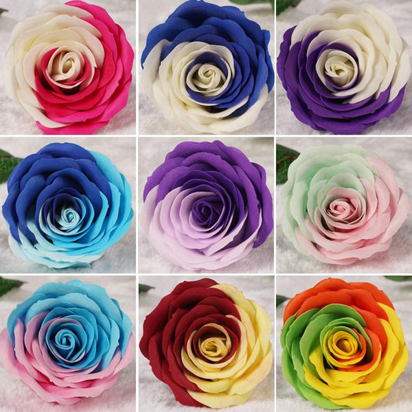 Wholesale!!!Rainbow 7 colorful Rose Soaps Flower Packed Wedding Supplies Gifts Event Party Goods Favor Toilet soap Scented bathroom accesso