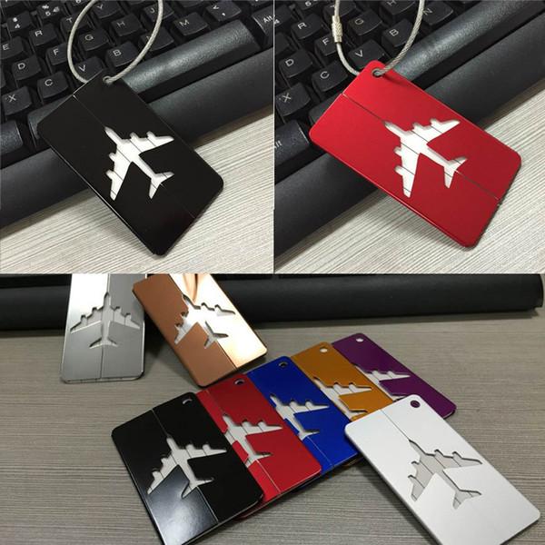 7 etiquetas do saco da bagagem da mala de viagem do curso da cor, etiquetas da bagagem de linhas aéreas, etiqueta de alumínio do saco da identificação do curso do metal com um anel