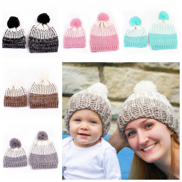 Parent-Child Beanie Pom Pom Baby Mum Knitted Hats Ball Wool Winter Warm Knitted Beanie Knit Hedging Skull Caps Hand Crochet Caps Hats D70