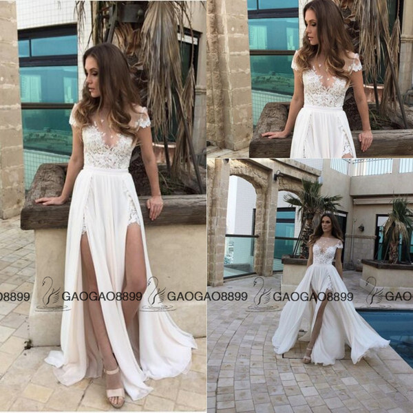 2016 Berta Lace Chiffon Elegant Split Summer Beach A-line Wedding Dresses Custom Make Sheer Cap Sleeve Cheap Bridal Wedding Gown